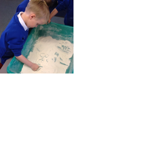 Writing in flour!